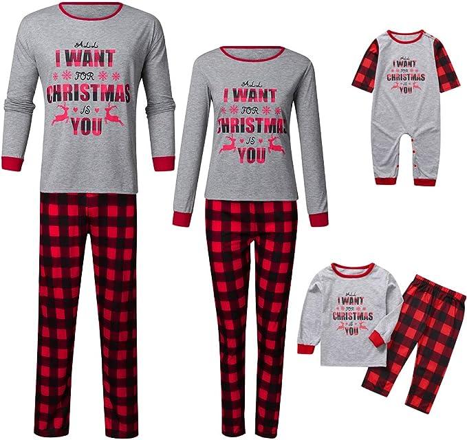 URMOSTIN Weihnachten Schlafanzug Familie Pyjama Set Zweiteilige Langarm Weihnachten Nachtw/äsche Nachthemd Karierte Homewear Pyjama Outfits Set f/ür Kinder M/ädchen Damen Herren Jungen
