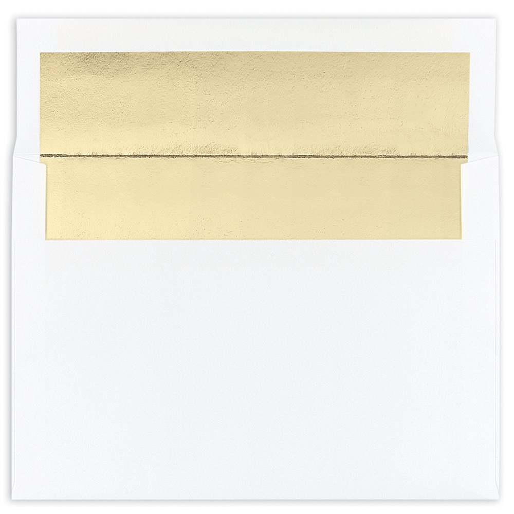 Great Papers! White with Gold Foil Lining A7 Envelopes, 7.25x 5.25, 25 Count (9021066) 7.25x 5.25