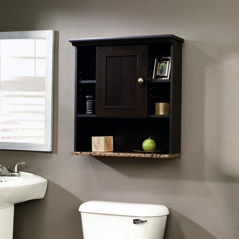 StarSun Depot Bathroom Wall Cabinet with 3 Adjustable Shelves in Cinnamon Cherry Wood Finish