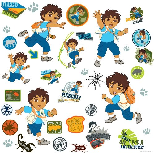 Go Diego Go Wall Appliques (RoomMates RMK1379SCS Go Diego Go! Peel & Stick Wall Decals)