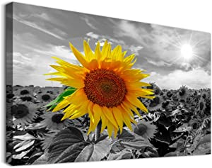Family Bedroom Wall Decor Canvas Wall Art for Dining Room Modern Wall Decorations for Kitchen Abstract Paintings Room Canvas Art Yellow Sunflower Hang Pictures Artwork Home Decoration 16x24 inch