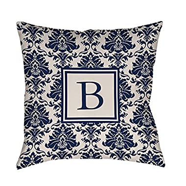 Manual Woodworkers & Weavers Square Throw Pillow, 14-Inch, Monogrammed Letter B, Blue Damask