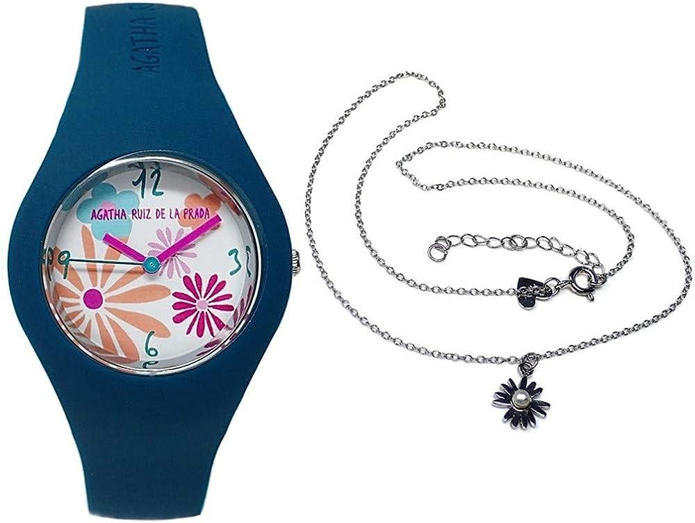Juego Agatha Ruiz de la Prada reloj AGR226 azul marino gargantilla plata Ley 925m perla margarita - Modelo: AGR226