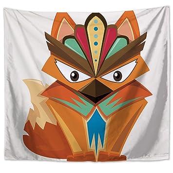Cartoon Stammes Fuchs Wandteppich Native Indianer Tier Totem Wandkunst  Tapisserie Mandala Boho Wand Dekor Psychedelisch Wandbehang