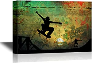 wall26 - Skateboard Canvas Wall Art - Staters Playing on Rustic Grunge Background - Gallery Wrap Modern Home Art | Ready to Hang - 16x24 inches