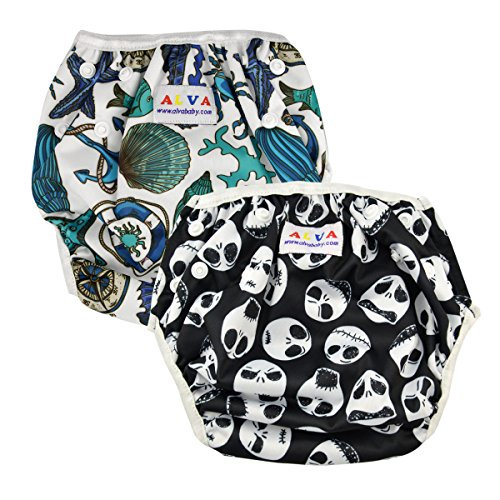 ALVABABY Boy Swim Diapers 2pcs One Size Reuseable Adjustable 0-24 mo. 10-40lbs Baby Shower Gifts SW06-132 by ALVA