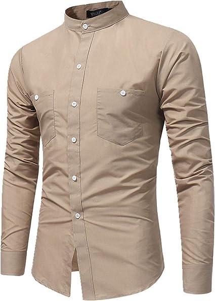Camisa de manga larga para hombre con cuello liso: Amazon.es: Ropa y accesorios