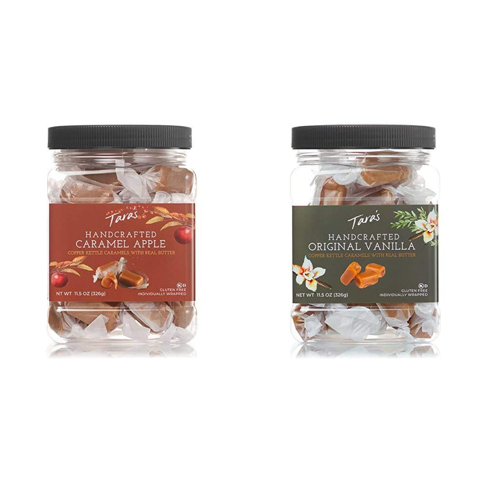 Tara's All Natural Handcrafted Gourmet Caramel Apple Flavored Caramels: Small Batch, Kettle Cooked, 11.5 Ounce & All Natural Handcrafted Gourmet Original Madagascar Vanilla Caramel, 11.5 Ounce