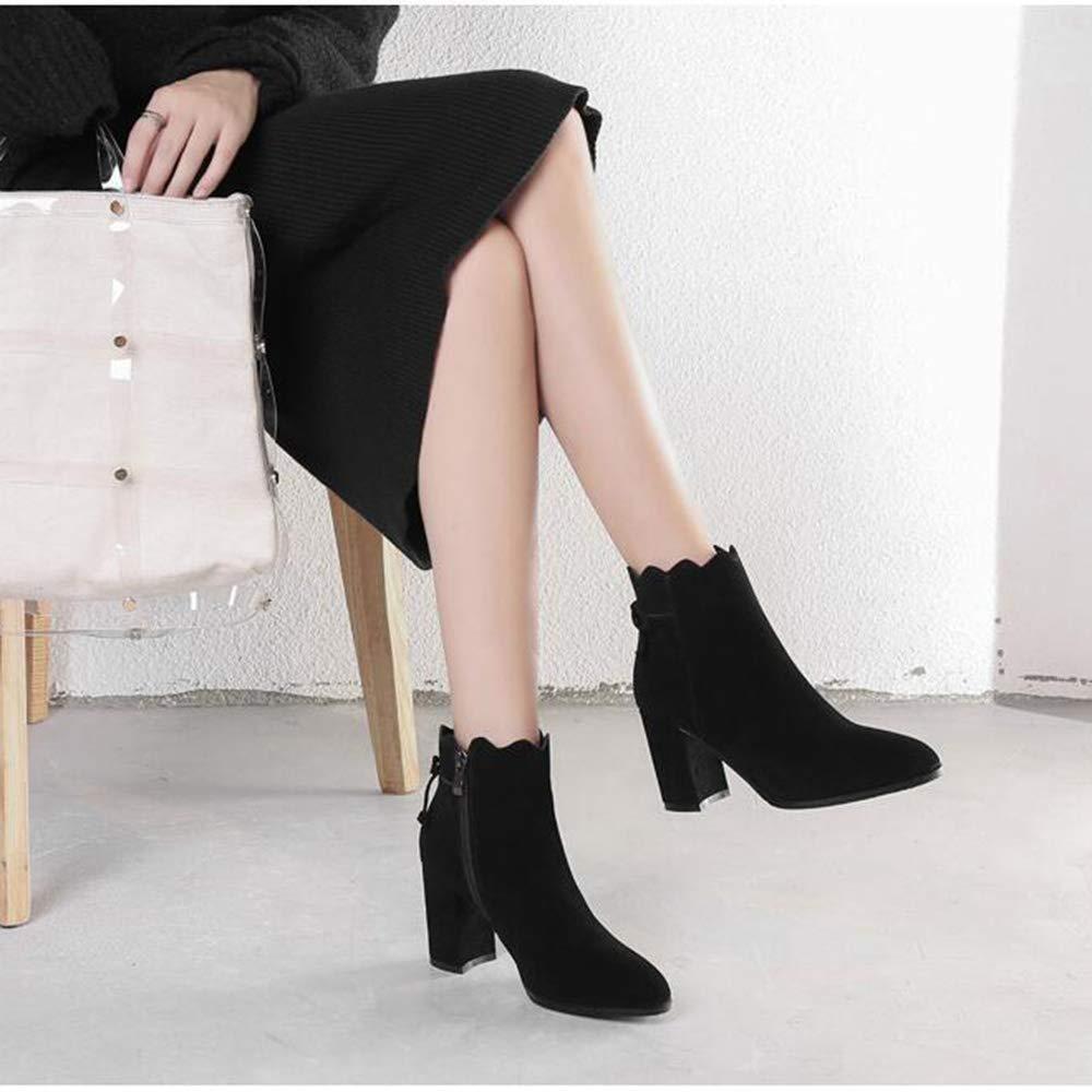 Xiaolin Martinstiefel aus Wildleder Wildleder Wildleder mit hohem Absatz Bow Stiefelies Damenstiefel Stiefelies runde Form Cowboystiefel (Farbe   B größe   US5.5 EU36 UK3.5 CN35) 43f716