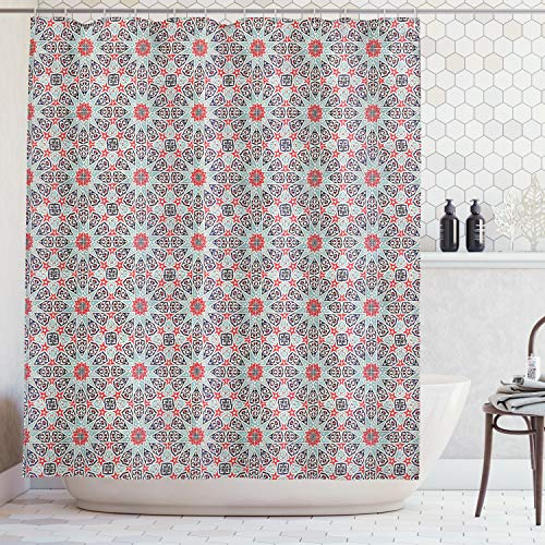 - Ambesonne Moroccan Decor Collection, Ceramic Tile with East Pattern Heritage Oriental Tradition Culture Travel Ornate Image, Polyester Fabric Bathroom Shower Curtain Set with Hooks, Red Ivory
