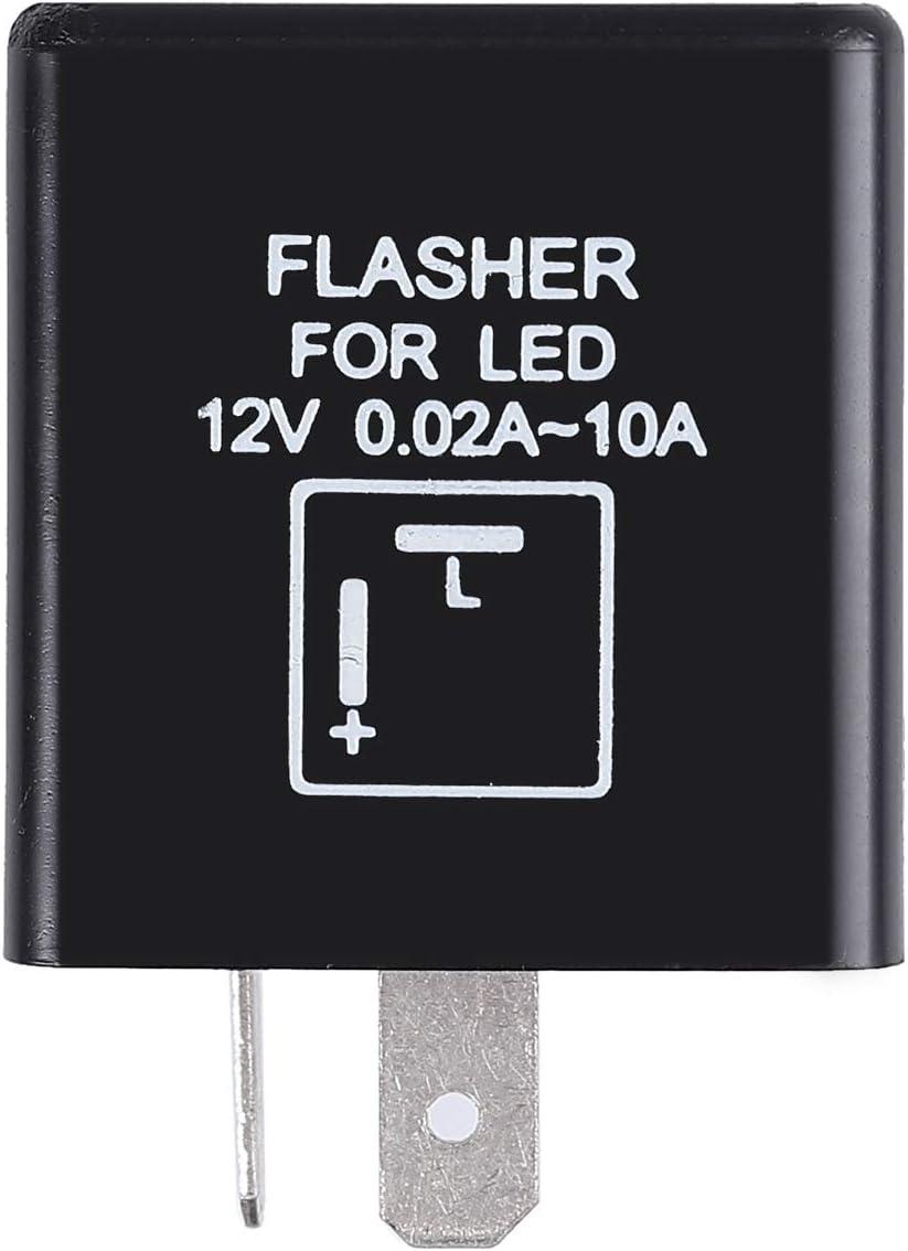 Relais Clignotant /à 2 Broches 12V LED Clignotants R/ésistance Indicateur LED R/ésistance Fix Flash pour V/éhicule Moto Voiture