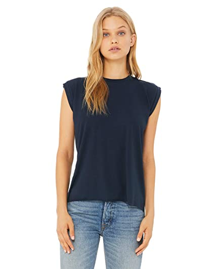 7150b5f82a Bella+Canvas Women's Flowy Muscle T-Shirt with Rolled Cuff at Amazon Women's  Clothing store: