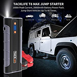 Tacklife T8 MAX 12V 1000A Peak 20000mAh Car Jump Starter (All Gas, up to 6.0L Diesel Engine), Auto Battery Jumper, Portable Power Pack with Quick-charge, Cigarette Lighter Adapter, Smart Jumper Cables