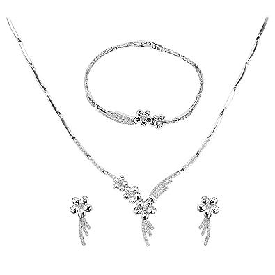 Neue Frauen Braut Hochzeit Perle Strass Halskette Ohrringe Schmuck-Set ZJP