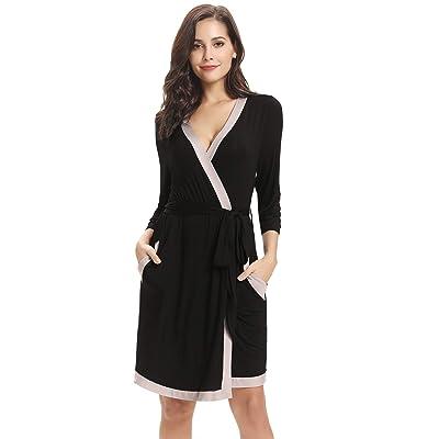 Aibrou Bata Kimono Mujer Algodón con Cinturón Pijama Invierno Corto Albornoz Ropa de Dormir Manga Largas, Suave y Cómodo: Ropa y accesorios