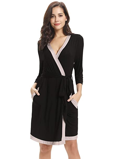 Aibrou Bata Kimono Mujer Algodón con Cinturón Pijama Invierno Corto Albornoz Ropa de Dormir Manga Largas, Suave y Cómodo: Amazon.es: Ropa y accesorios