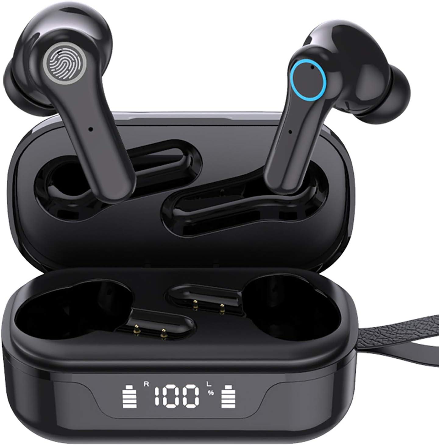 Auriculares Inalambricos, Auriculares Bluetooth 5.1 con Mini TWS Graves Profundos, Cascos Inhalabricos In Ear con USB C Carga Rápida Reproducción de 30H Control Tactil, IPX7 Impermeable para Deporte