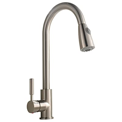 Best Commercial Stainless Steel Single Handle Pull Down Sprayer Kitchen Faucet, Pull Out Kitchen Faucets Brushed Nickel
