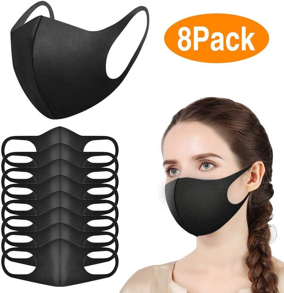 Paquete de 8 Mascarillas, Máscara Facial Antipolvo, Mascarilla Reutilizables y Lavable para Correr, Andar en Bicicleta, Lavables al Aire Libre, Unisex