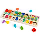D-FantiX Wood Math Blocks, Baby Shape Sorter Wooden Stacking Toys Counting Number Ring Stacker for Toddlers Puzzle Board Game Math Toys Preschool Learning