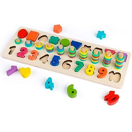 6b087181615c Amazon.com  D-FantiX Wooden Math Blocks Sorting Puzzle Board Kids ...