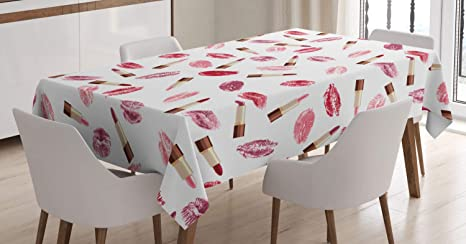 Ambesonne Cosmetics Tablecloth, Beauty Theme Pink and Burgundy Lipstick and  Kiss Pattern Makeup Concept, Dining Room Kitchen Rectangular Table Cover,  ...
