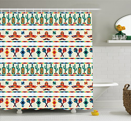 Mexican Bathroom Decor (Mexican Decorations Shower Curtain by Ambesonne, Retro Aztec Heritage Zigzag Flat Design with Tribal and Moustache Form Image, Fabric Bathroom Decor Set with Hooks, 70 Inches, Multi)