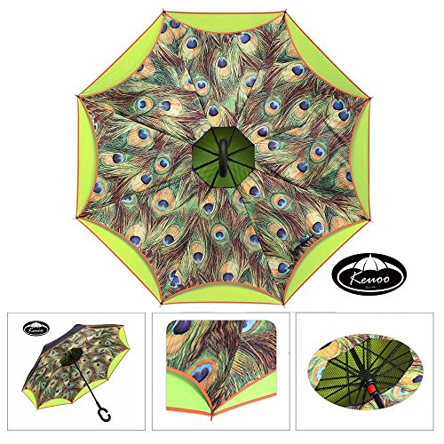 keuoo-travel-inverted-umbrella-for-driver-c-hook-reverse-hands-free-umbrella-peacock-yellow