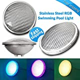 Tunez PAR56 Stainless Steel Underwater Swimming Pool RGB Light 45W 7 Colours with Remote Control