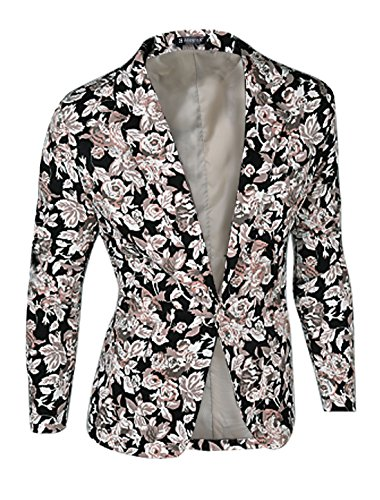 Prints Long Sleeves Buttoned Blazer Jacket Black L (Floral Wool Coat)