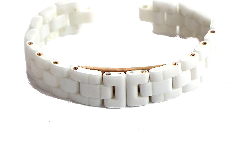 Swiss Legend 16MM Women's White Ceramic Watch Strap Band Bracelet Rose Gold Clasp fits Women's 34MM Karamica Watch