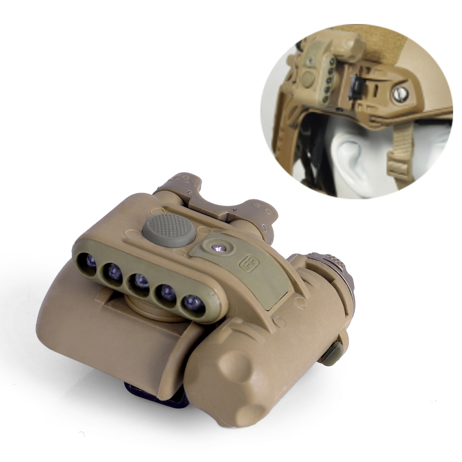 Element Airsoft EX029 SET GEN2 Three White Lights+Two Red Lights+One Invisible LED Survival Signal Helmet Light(Tan)