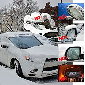 Bememo (Upgraded) Magnetic Windshield Snow Cover Frost Windshield Cover Rain Resistant, Waterproof Windproof Dustproof Covers Fit Most Car SUV RV Truck, 83 x 57 x 47.2 Inch, Black
