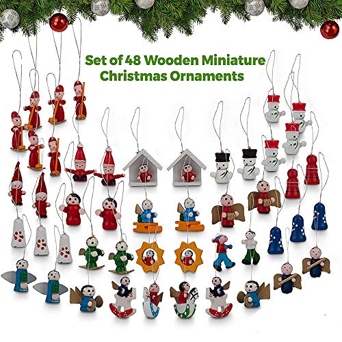 Santa Wooden Ornament - LOVEYIKOAI Set of 48 Pcs Mini Wooden Christmas Tree Ornaments - Santa Claus,Snowman, Angels,Tiny Hanging Vintage German Style Petite Miniature Perfect for Christmas Tree