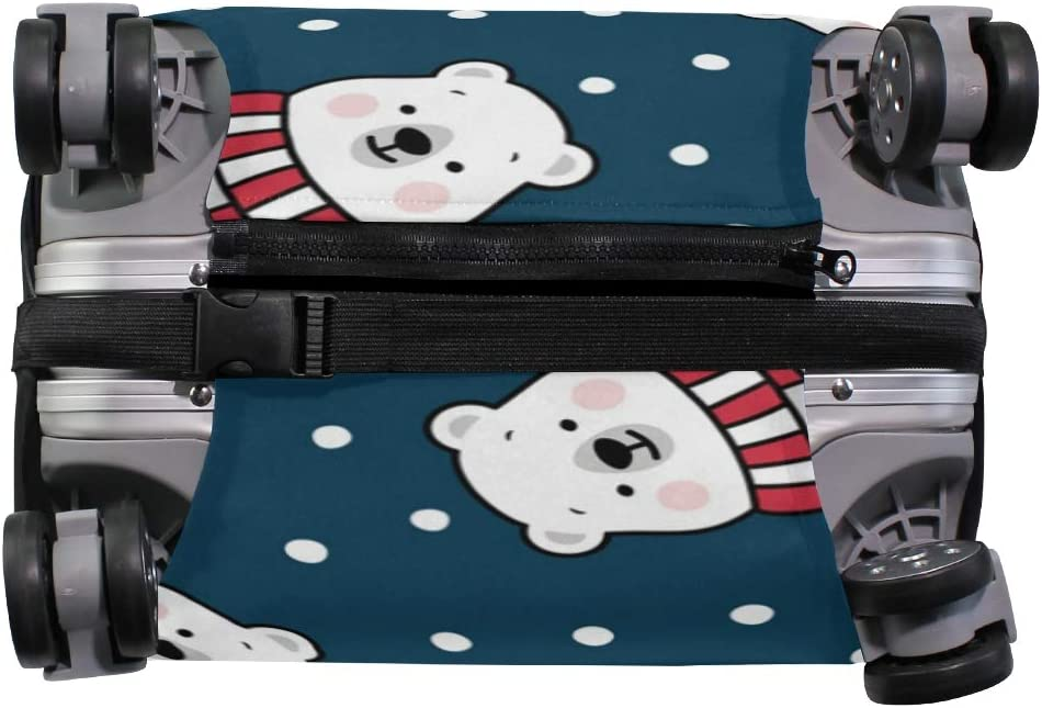 FOLPPLY Polar Bear Polka Dot Pattern Luggage Cover Baggage Suitcase Travel Protector Fit for 18-32 Inch