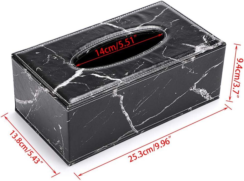 BSTKEY PU Leder Haushalt B/üro Cube quadratisch Papier-Halter Box Cover Fall Fall Serviettenhalter Schwarzer Marmor