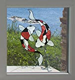 Koi Fish Pair - Stained Glass Style - See-Through Vinyl Window Decal Copyright Yadda-Yadda Design Co. (LG 6''w x 9.5''h, Showa)