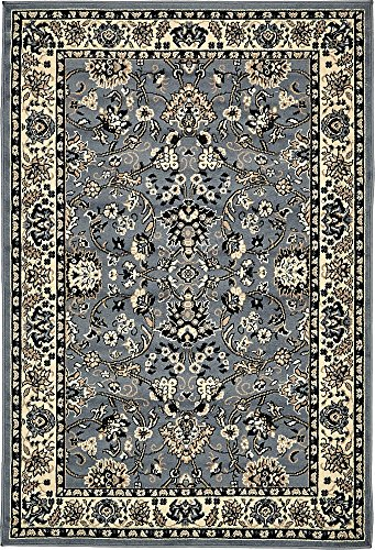 Unique Loom Sialk Hill Collection Traditional Floral Overall Pattern with Border Gray Home Décor Area Rug (4' x 6')