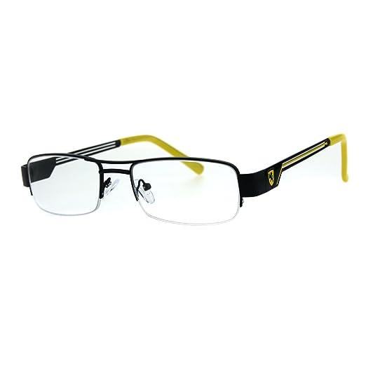 ea809fe034 Mens Lion Shield Rectangular Metal Half Rim Clear Lens Eye Glasses Black  Yellow