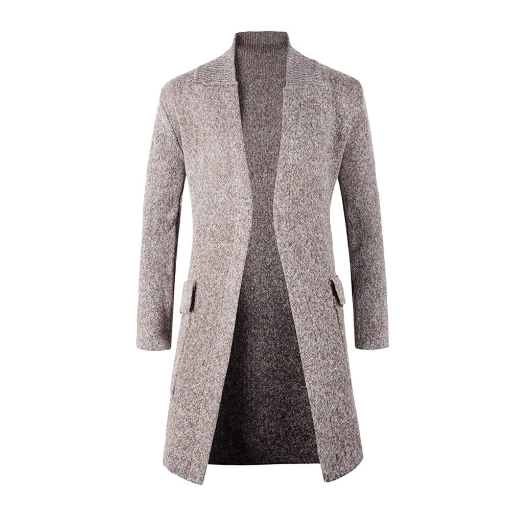 Dacawin Men's Winter Coat Sale Fashion Solid Color Long Sleeve Long Knitted Cardigan Outwear