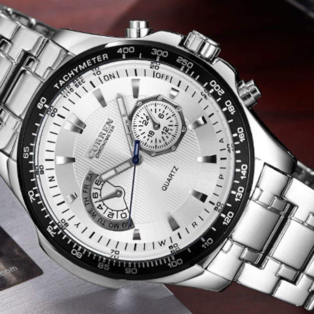 Curren 8020 Business Reloj de Cuarzo para Hombres Reloj de Pulsera de Acero Inoxidable Reloj de Pulsera Redondo de Cuero para Hombre Relojes - Blanco y ...