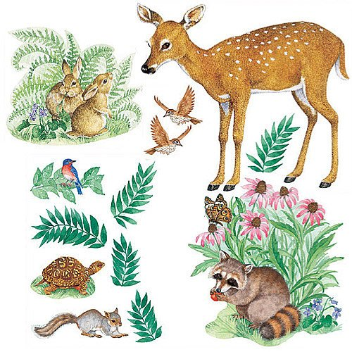Wallies Big Mural - Wallies 15204 Woodland Animals Wallpaper Mural, 2-Sheet
