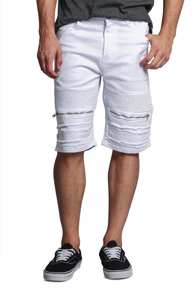 Victorious G-Style USA Zippered Biker Style Ribbed Moto Ripped Distressed Whisker Sandblast Faded Denim Jean Shorts - DS2010 - White - 36 - DD1E
