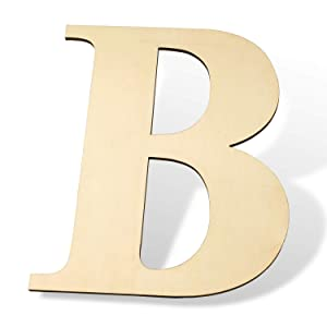 """12 inch Wooden Letters B - Blank Wood Board, Wood Letters for Walls Decor, Party, DIY Craft Projects(12"""" - 1/4"""" Thick, B)"""