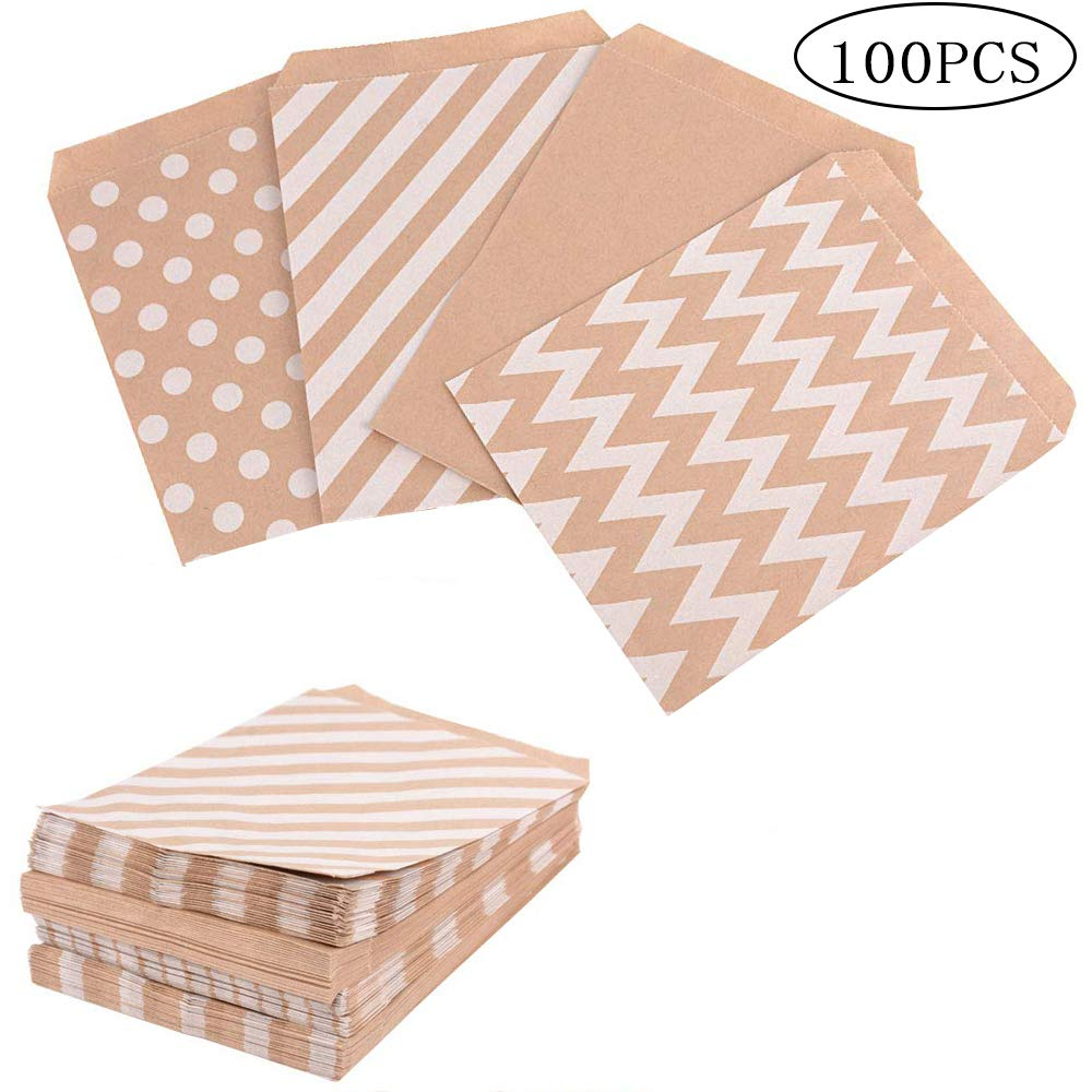 100pcs Small Kraft Paper Bags Vintage Wedding Treat Brown Paper Bag