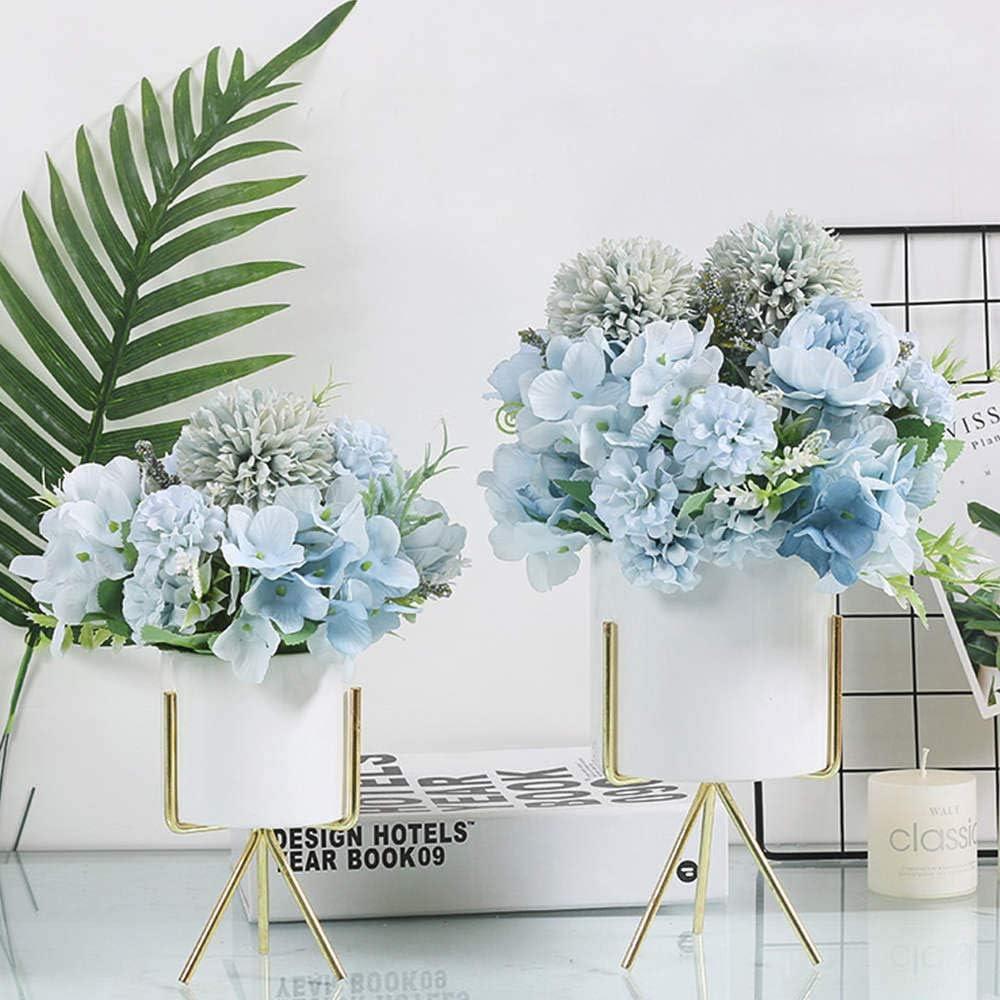 Kirifly Fiori artificiali centrotavola confezione da 2 Blu decorazione per matrimoni bouquet di fiori decorazione realistica peonia e ortensia finta in seta