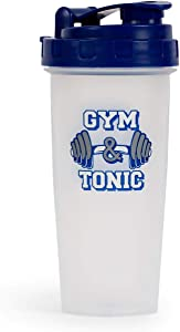 Gym & Tonic Plastic Shaker Bottle | Portable Blender for Protein Shakes and Smoothies | BPA-Free Drink Mixer with Blending Ball | Exercise and Fitness Gifts | Holds 20 Ounces