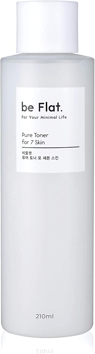 [be Flat] Pure Toner for 7 Skin 7.1 fl.oz, Brightening & Wrinkle Care Natural Facial Toner with CICA, Tea Tree, Chestnut Shell Extracts for Dry, Oily, Acne Prone Skin, Korean Skin Care, Korean Beauty