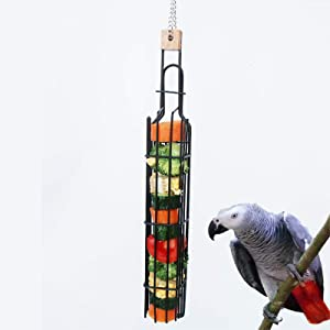 Bird Food Holder Parrot Feeders,Hanging Bird Foraging Toy Fruit Vegetable Storage Basket,Bird Treat Skewer Stick Holder,Small Animals Outside Feeding Tool Chews Toys for Parakeets Conures Cockatiels