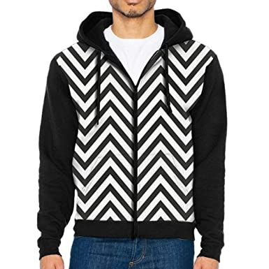 Waning Moon Mens 3d Printing Black And White Stripes Sweater Zip